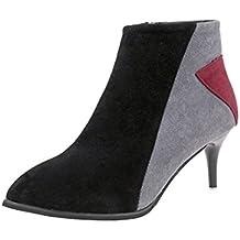 Señoras de Gamuza Femenina Faux Boots Cremallera de Tobillo Martin Puntiagudos Zapatos Casuales por ESAILQ