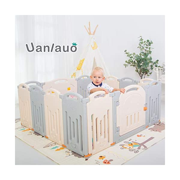 Foldable Baby Playpen Kids Activity Centre Safety Play Yard Home Indoor Outdoor Grey Uanlauo 🥉FOLDABLE & PORTABLE: Easy to storage and can be fold outdoor/indoor; Sturdy holding Rubber anti-slip pad so the yard won't go sliding around. 🥉MOM'S LIFESAVER: Keep baby safe in the baby gate there play centre when mom/dad needs to cook, clean up, do some housework, etc. 🥉Safty&Durable:BPA free Give your baby the closest contact, HDPE Material is more durable. 1
