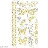 Ki-Sign 'Tattoo flüchtig Tatoo Chic–Schmetterling Gold–Aufbügeln