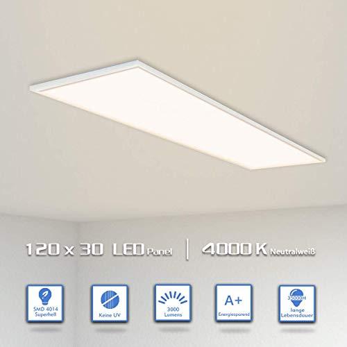 OUBO LED Panel 120x30 Neutralweiß 4000K LED Deckenleuchte Ultraslim 36W 3600 Lumen Weißrahmen Wandleuchten für Küche, Keller, Büro, Flur, Labor, inkl. Netzteil