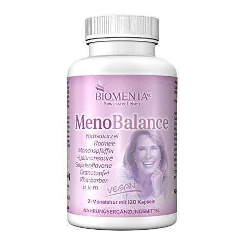 BIOMENTA MENO BALANCE | con radice di igname (YAM), TRIFOGLIO VIOLETTO, ALCHEMILLA, AGNOCASTO (PEPE DEI MONACI), ACIDO IALURONICO, RABARBARO, MELAGRANA, ecc. | 120 capsule vegane per la menopausa