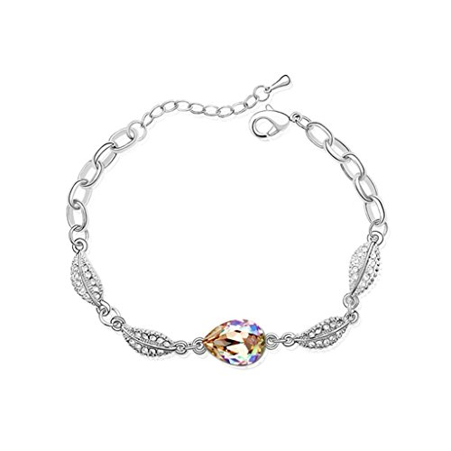 Aooaz placcato in oro bianco braccialetto per le donne ragazze, matrimonio bracciale a maglies CZ cristallo Zirconia cubica, foglia verde