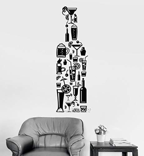 e Alkohol Vinyl Wandaufkleber Dekor Cocktail Bar Getränke Wandtattoo Neuheiten Tapete Design 3D Wandbild 34 * 114 cm ()