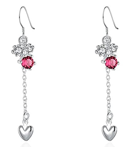 SaySure - Jewelry Silver Plated red stone drop heart Earrings