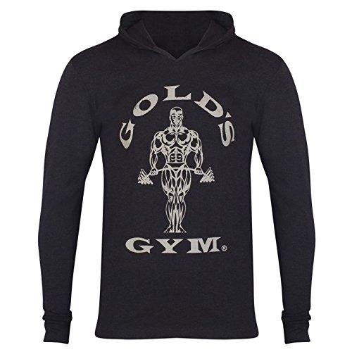 Golds Gym Herren Shirt Sport Training Fitness Langarm Kapuze Schwarz Marl UK Large