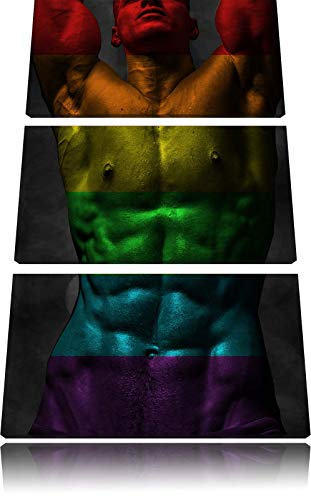Sixpack Body Mann schwarz/weiß 3-Teiler Leinwandbild 120x80 Bild auf Leinwand, XXL riesige Bilder fertig gerahmt mit Keilrahmen, Kunstdruck auf Wandbild mit Rahmen, günstiger als Gemälde oder Ölbild, kein Poster oder Plakat
