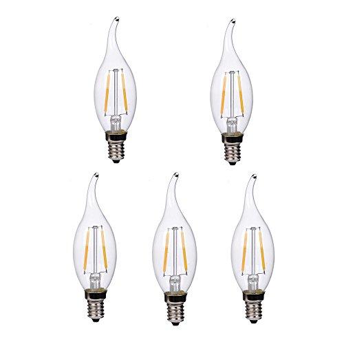 LED Lighting 5er 2W Edison E14 C35 Lampe Kerze Vintage Retro 100Lumen/W Glühbirne Glühlampe Leuchtmittel Ideal für Nostalgie und Antik Beleuchtung Deko Lampe 2800K Warmweiß