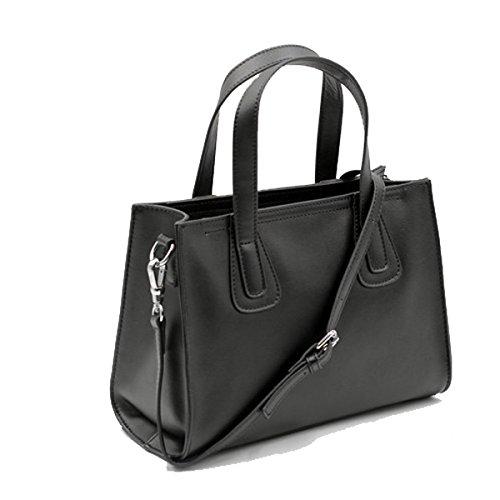 Frauen Faux-Leder-Aktenkoffer Messenger Bag Damen Handtaschen Multicolor Black