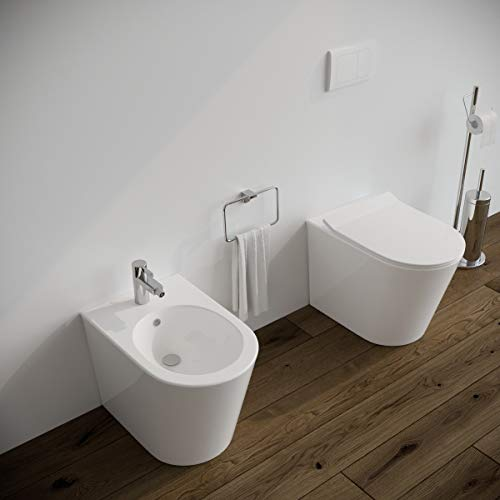 Sanitari bagno filomuro a terra Bidet e Vaso WC in ceramica con sedile coprivaso softclose. Ponsi SURF
