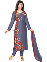 AnK Festival Special Offer Women's Grey (Light blue) Embroidered Cotton Semi Stitched Salwar Suit With Dupatta