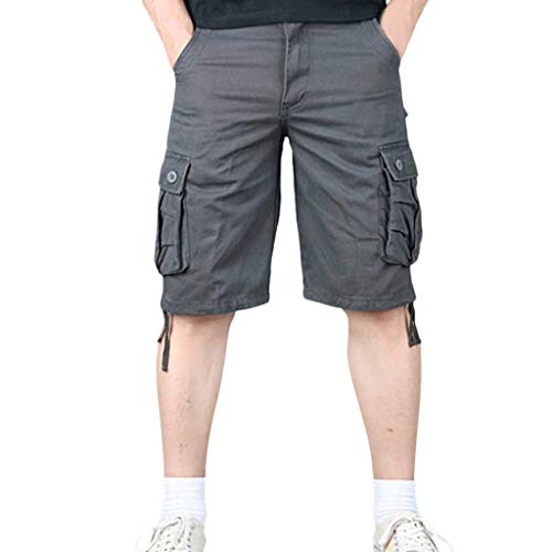 TEBAISE Pants Pure Color Shorts Herren Outdoor Taschen Strand Arbeit Hosen Cargo Pant 3/4 Herren Cargo Short Hose