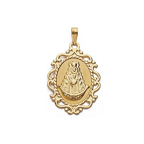 Alda Joyeros Medalla Oro Virgen del Rocío 18 ktes - Personalizable, Grabado Incluido