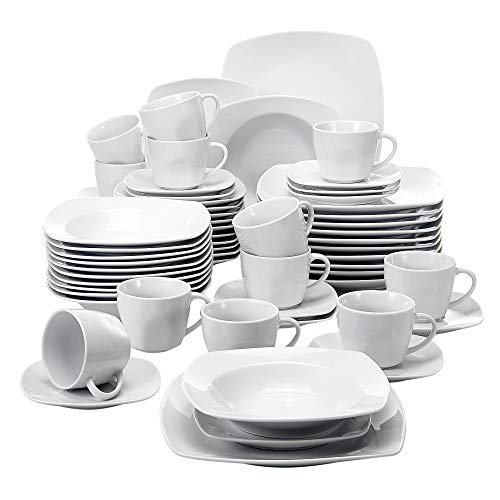MALACASA, Série Julia, 60pcs Services de Table Complets Porcelaine, 12 Assiettes Plates, 12 Assiettes Creuse à Soupe, 12 Assiettes à Dessert, 12 Tasses, 12 Soucoupes, Vaisselles pour 12 Personnes