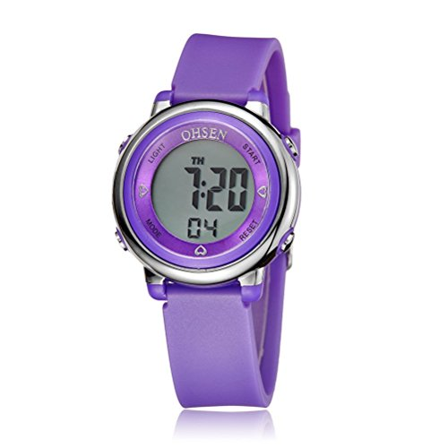 PIXNOR Chicas de múltiples funciones resistente al agua luz de fondo pantalla cuarzo reloj deportivo OHSEN niños mujeres (púrpura)