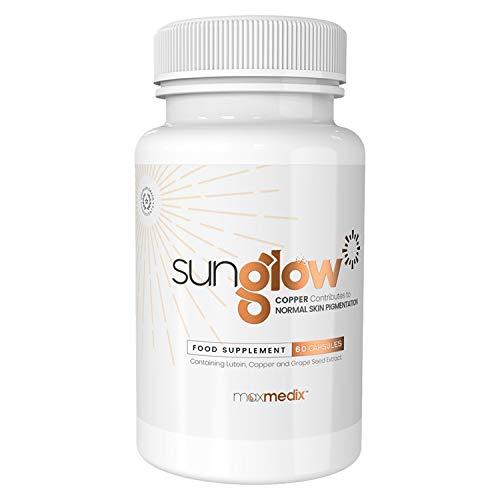 Sunglow Selbstbräuner Kapseln | Unterstützen die natürliche Bräunungsfähigkeit des Körpers | Bräunungskapseln hochdosiert | Mit Carotinoid, Vitamin E & Lutein | Natürlicher Sun Komplex | 60 Kapseln
