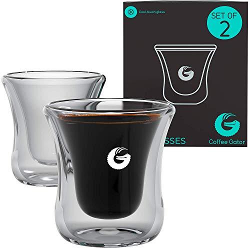 Coffee Gator - Schwebende Espresso- bzw. Schnapsgläser - Mundgeblasen, Thermoglas - 80 ml 2er-Packung