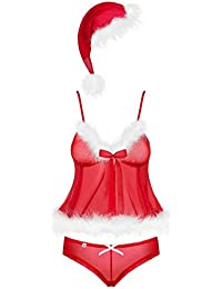Obsessive merrily Babydoll Sexy Christmas Costume Red