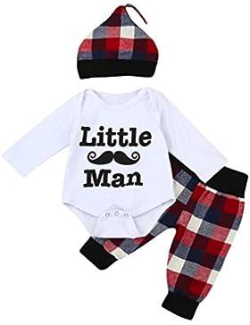 Style_Dress Baby Kleidung Set, 3pcs Baby Neugeborenes Mädchen Jungen Kleidung Lange Ärmel Strampler Overall +...