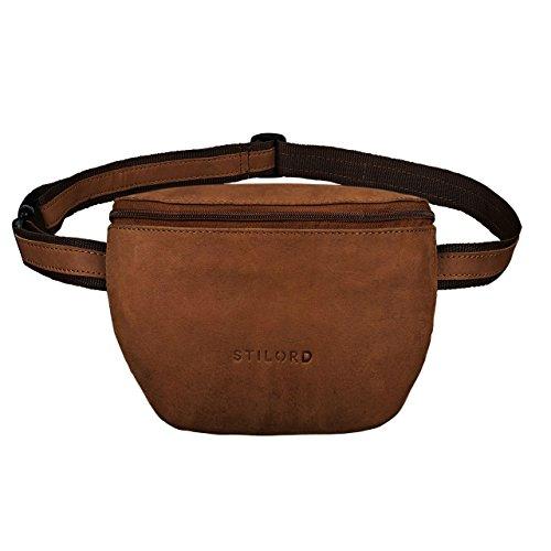 STILORD \'Jules\' Gürteltasche Leder klein Vintage Bauchtasche Reisetasche für Herren Damen Hüfttasche für Party Festival Konzert und Handy, Farbe:Sattel-braun