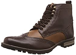 Knotty Derby Mens Diggory Brogue Chikoo and Beige Boots -7 UK/India (41 EU)