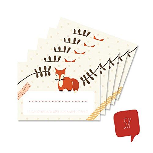 lijelove® 5 Aufkleber FOXY DOTS zum Beschriften, 5.2 x 7.4cm (Art. 04-01U4) -