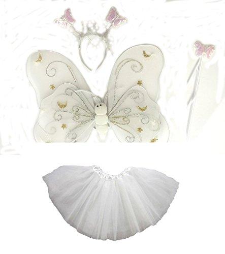 Tante Tina - Schmetterling Kostüm für Mädchen - 4-teiliges Set - Feenflügel / Schmetterlingsflügel Verkleiden - Weiß mit (Weiße Schmetterlingsflügel Kostüm)