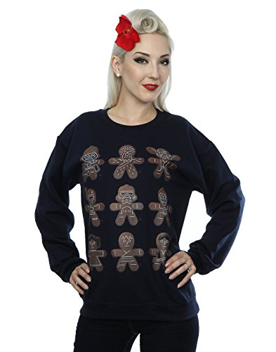 Star Wars Damen Christmas Gingerbread Sweatshirt Large Deep Navy (Star Wars Weihnachten Pullover)