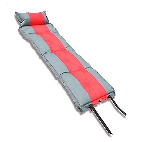 AZlife Matelas de sol léger et isolant autogonflant Pour camping, randonnée, voyage 5cm, Rouge/gris