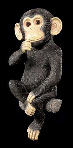 Affe Gartenfigur - Schimpanse zum Hängen - lustig Garten Figur Deko