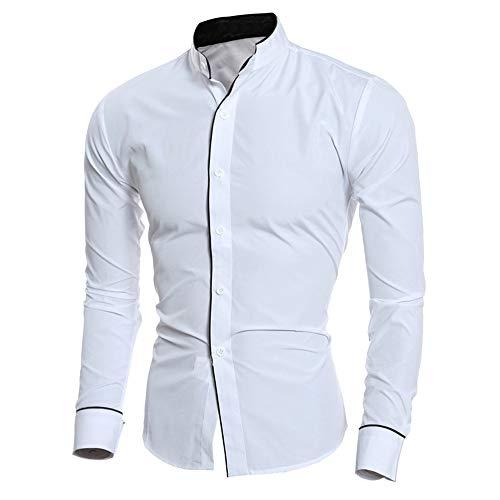 XuanhaFU Hombre Camisa Manga Larga Slim Fit con Botones (Blanco,M)