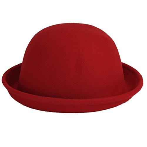 ECYC Frauen Mädchen Bowler Derby Woolen Bowler Hut Cap, Dark Red
