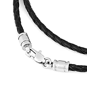 MunkiMix 3.0mm Wide Stainless Steel Genuine Leather Cord Necklace Chain 17 Inch Men