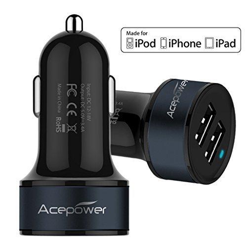 [certificato da apple] acepower® doppio usb caricabatterie da auto (17w/3.4a - 2 porte) per ipad air, ipad, ipad mini, iphone 6, 6 plus, 5s, 5, 4s; samsung galaxy phone, galaxy tab; lg g3; htc one; motorola, speaker bluetooth, gps, batterie esterne e altri dispositivi usb (black w. dark blue band)
