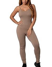 Femme Élastique Slip serré Yoga Jumpsuits combi vetement de sport c7fc93e7b3d