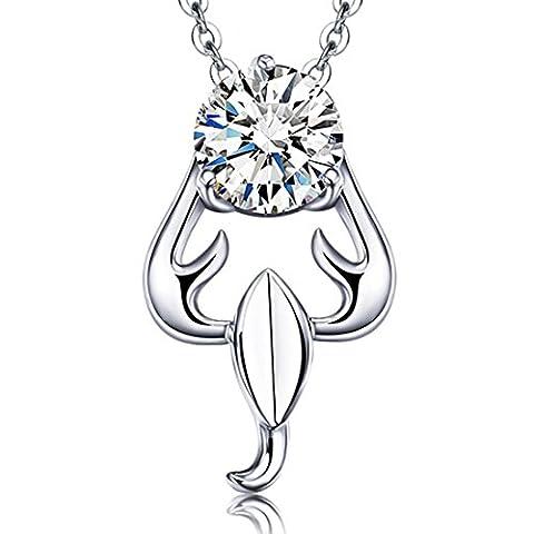 JiangXin Collier Pendentif Bijoux en Argent Sterling 925 Scorpion Zodiaque pour Femme Filles Anniversaire Cadeau Octobre Novembre