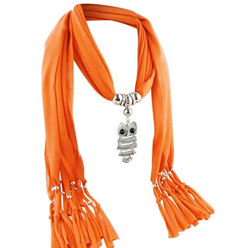 BaZhaHei Damen Schals Umschlagtücher, Halstücher Mode Frauen Anhänger Schal mit Quaste Strass Schmuck Schals Eule Anhänger Zubehör Halskette Schal Legierung Quaste Schal -