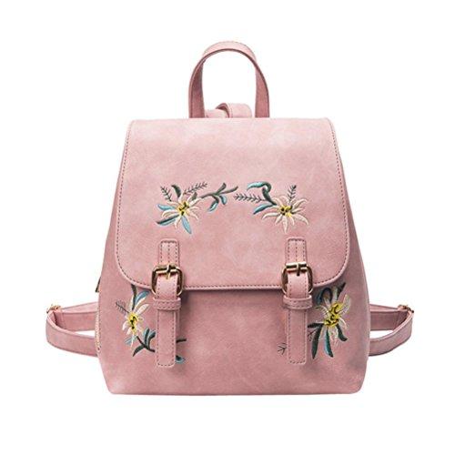 Longra Lo zaino del sacchetto di spalla ricamato fiore di modo delle donne Rosa