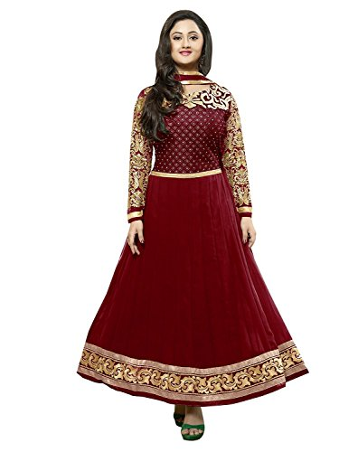 Market Magic World Women's Maroon Georgette Anarkali Unstitched Free Size XXL Salwar Suits Sets Dress Material (Indain Clothing New Dresses)  available at amazon for Rs.649