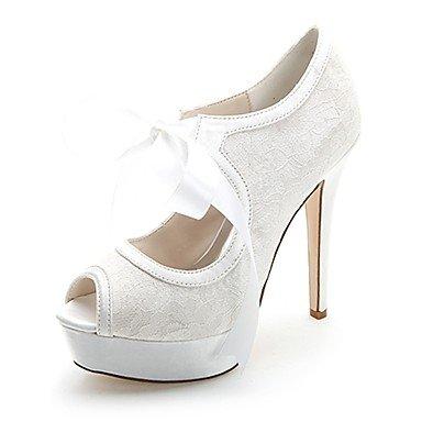 Wuyulunbi@ Scarpe donna raso Primavera Estate della pompa base scarpe matrimonio Stiletto Heel Peep toe lacci per party di nozze & Sera Bianco Rosa Blu Bianco