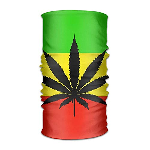 Uosliks Jamaica Flag Weed Leaf Headwear Bandanas Seamless Men Women Headwear 12-in-1 Stretchable Magic Scarf Balaclava