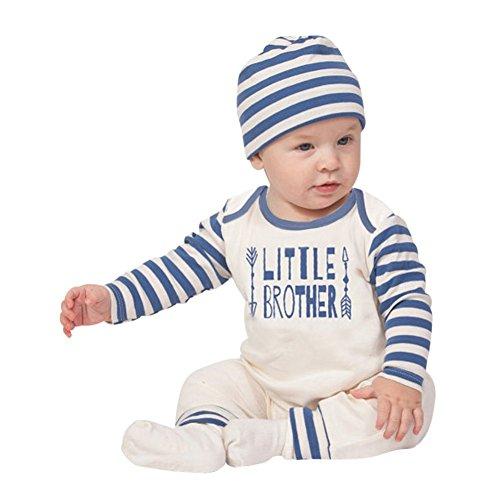 70's Kostüm Muster - Baywell Strampler Baby Junge Mädchen, Gestreifter Brief Drucken Karikatur Augenbrauen und Augen Muster Baby Overall mit Hut Bekleidungsset (BlauB, S/70/0-3 Monate)