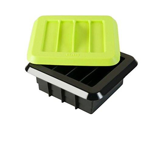 ibili 747001 Energieriegel-Set für 12 Stück, Silikon, schwarz / grün, 15 x 7 x 7 cm, 3 Einheiten
