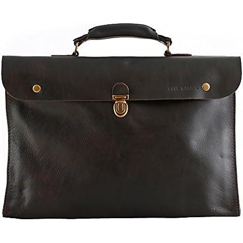 PAUL MARIUS plegable maletín cartera de mano marrón oscuro LE PLIABLE