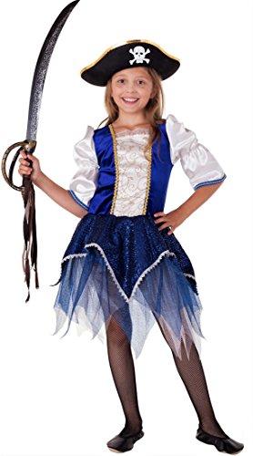 en Kostüm Kinder Mädchen Blau-Silber-Weiß Karneval Fasching - Piratin Kostüm Kinder Mädchen (116) (Blaue Piraten Mädchen Kostüme)