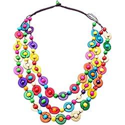 FENICAL Collar Collar Boho Collar de Concha de Coco Multicapa Collar Hawaiano para Mujeres niñas