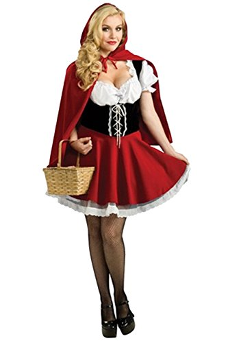ShallGood Damen Rotkäppchen Halloween Weihnachten Performance Kleid Hoodie Schal Kostüm Pirat Hexe Cosplay Dress Kleid Passt Set Zombie Ghost Kleid Dress Rotkäppchen De 42