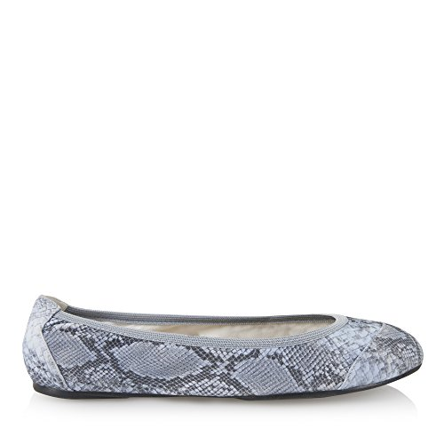 Cocorose London Scarpe Pieghevoli - Barbican Scarpe da Ballet Donna Pastel Blue Snakeprint