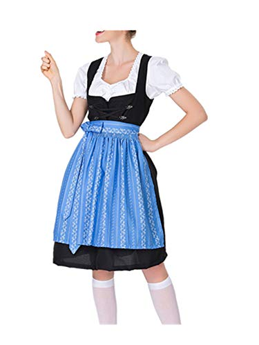 Mini Dirndl Set 3-TLG.Trachtenkleid für Oktoberfest,rot, blau, lila, grün,Passender Bluse & Schürze,Gr. S-XXL ()