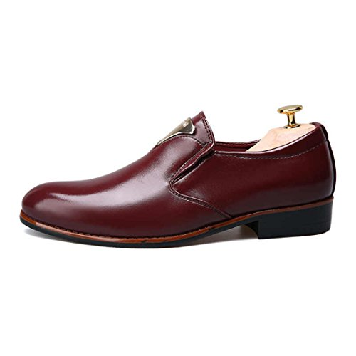 Men's British Solid Slip On Leather Formal Shoes red