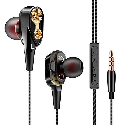 in Ear Kopfhörer,Premium Dynamic Dual Treiber Ohrhörer mit Vier Speakers Mikrofon Lautstärkeregler Noise Reduction Deep Bass für iPhone,Android Smartphones und MP3 Players usw